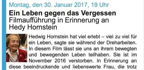 Hedwig Hornstein ist gestorben